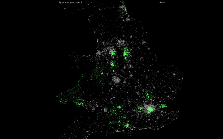 Interactive postcodes using Processing